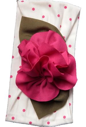 Babygiz Puantiyeli Çiçek Aksesuarlı Bandana