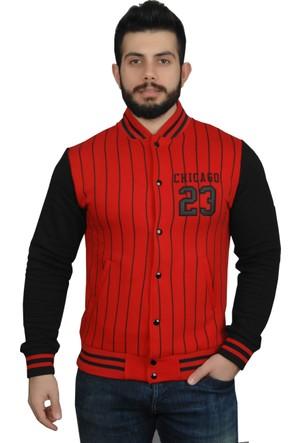 Modaroma Chıcago 23 Çizgili Kırmızı Kolej Ceket S
