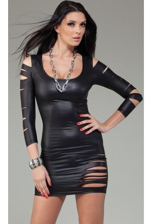 Merry See Parlak Lazer Kesim Deri Giyim Elbise