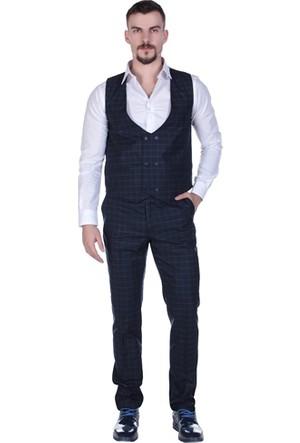 Brango 38004 Ekose Yelek Pantolon Takım (Sarm)
