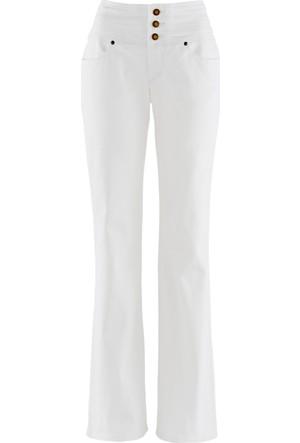 John Baner Jeanswear Kadın Beyaz Yüksek Bel Pantolon