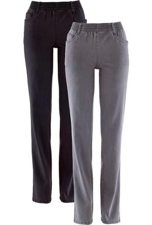 Bpc Bonprix Collection Kadın Gri Yüksek Bel Streç Pantolon (2'Li Pakette)