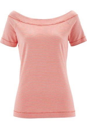 Bpc Bonprix Collection Kadın Kırmızı Kayık Yaka T-Shirt