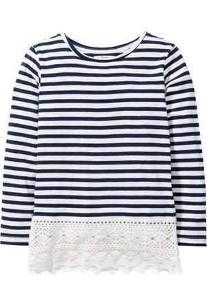 Bpc Bonprix Collection Kız Çocuk Mavi Dantel Detaylı Çizgili Bluz