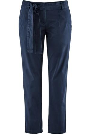 Bpc Bonprix Collection Kadın Mavi Kumaş Kemerli Bilek Boy Pantolon