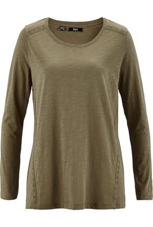 Bpc Bonprix Collection Kadın Yeşil Dantel Detaylı Uzun Kol Sweatshirt