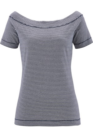 Bpc Bonprix Collection Kadın Mavi Kayık Yaka T-Shirt