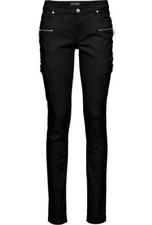 Bodyflirt Kadın Siyah Dar Paça Streç Kargo Pantolon
