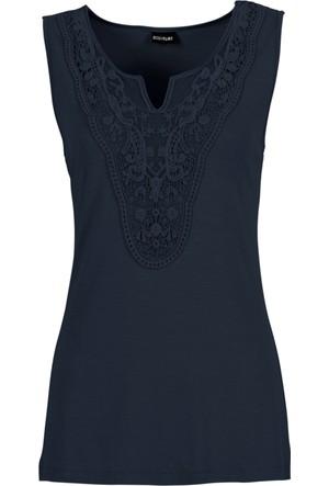 Bodyflirt Kadın Kadın Mavi Dantel Detaylı Kolsuz Bluz
