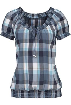 John Baner Jeanswear Kadın Mavi Büzgü Detaylı Bluz
