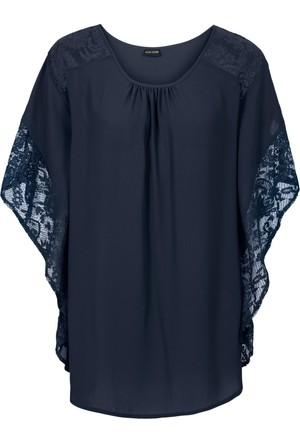 Bodyflirt Kadın Mavi Dantel Detaylı Bluz