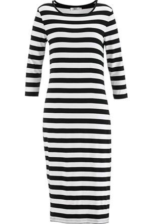 Bpc Bonprix Collection Kadın Siyah Düz Uzun Penye Elbise