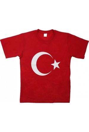 Modakids Unisex Çocuk Türk Bayrak Baskılı Kırmızı T-Shirt 019-1925-002
