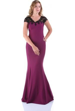 Kep&Balo Kadın Uzun Mürdüm Abiye Elbise