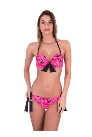 Ayyıldız 40691 Pembe Desenli Dolgulu Push-Up Bikini