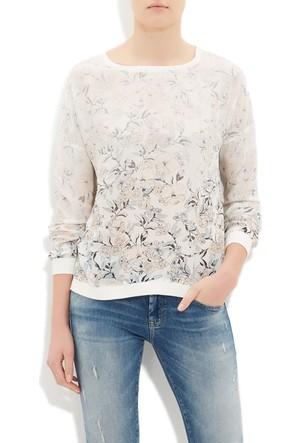 Mavi Kadın Baskılı Beyaz Bluz