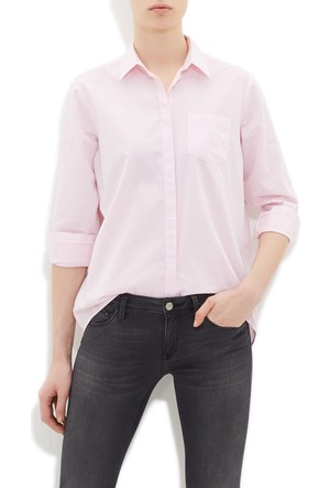 Mavi Kadın Cepli Pembe Oxford Gömlek