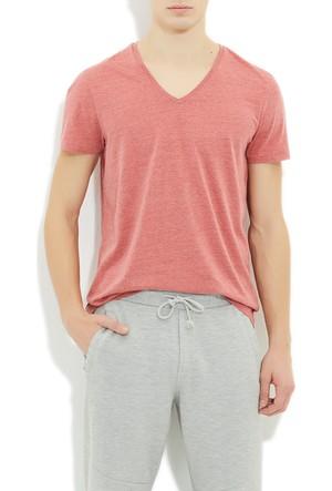 Mavi Kırmızı V Yaka T-Shirt