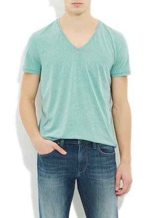Mavi Turkuaz V Yaka T-Shirt