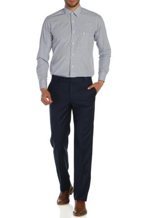 Hateko Klasik Kesim Koyu Mavi Kumaş Pantolon