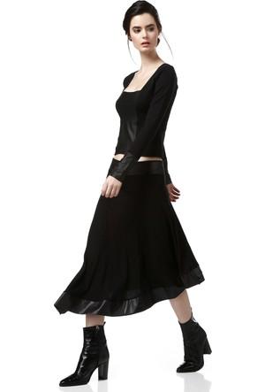 Quincey Kadın Siyah Deri Garnili Etek Ek2296