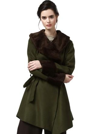 Quincey Kadın Yeşil Kahve Kaşe Ceket Kb2037