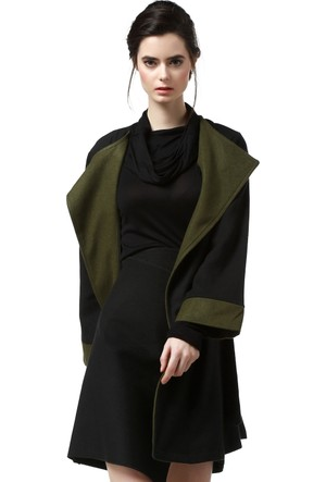 Quincey Kadın Siyah Yeşil Kaşe Ceket Kb20
