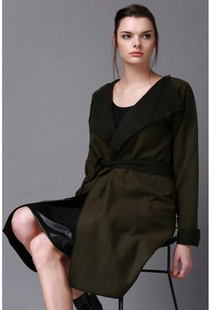 Quincey Yeşil Kaşe Uzun Ceket