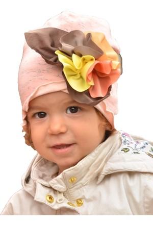 Babygiz Çiçek Aksesuarlı Somon Şapka