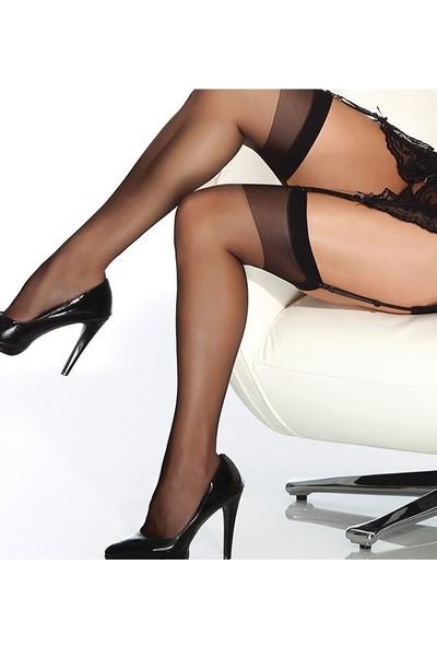 Lady Lingerie Siyah Dantelsiz Jartiyer Çorabı