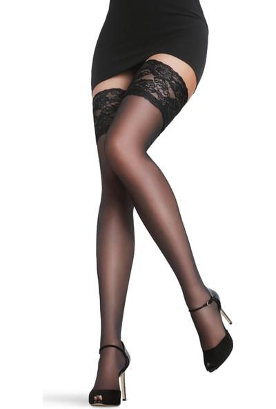 Lady Lingerie Siyah Düz Silikonlu Dantelli Jartiyer Çorap
