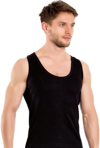 Elif Çamaşır Seher 6'Lı Paket Klasik Erkek Atlet Siyah