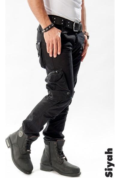 Deepsea Siyah Dar Kesim Cepleri Ters-Fermuarlı Erkek Kargo Pantolon 1611193-002