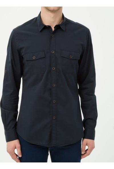 Koton Erkek Cep Detaylı Gömlek Lacivert