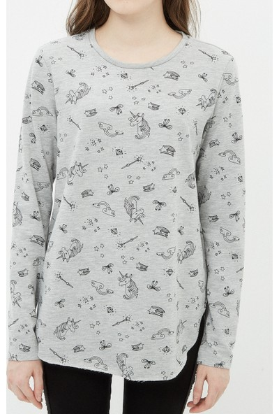 Ole Kadın Baskılı Sweatshirt Gri
