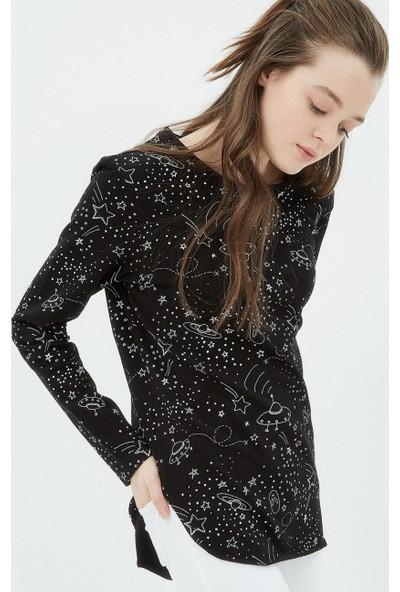 Ole Kadın Baskılı Sweatshirt Siyah