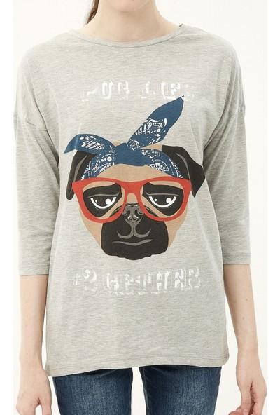 Ole Kadın Baskılı T-Shirt Gri