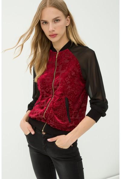 Koton Kadın Desenli Ceket Bordo