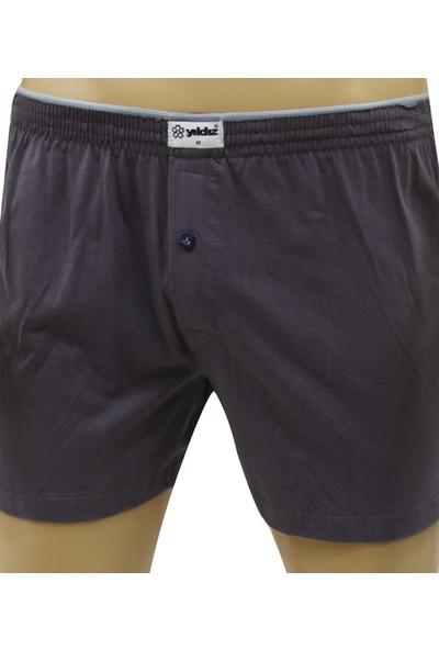 Elif Çamaşır Yıldız 3'Lü Paket %100 Pamuk Düğmeli Erkek Boxer Koyu Füme