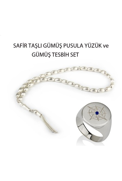 Ejoya Safir Gümüş Pusula Yüzük Ve Gümüş Tesbih Set