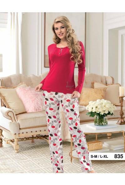 Derya Kurşun 835 Yaprak Baskılı Bayan Pijama Takımı