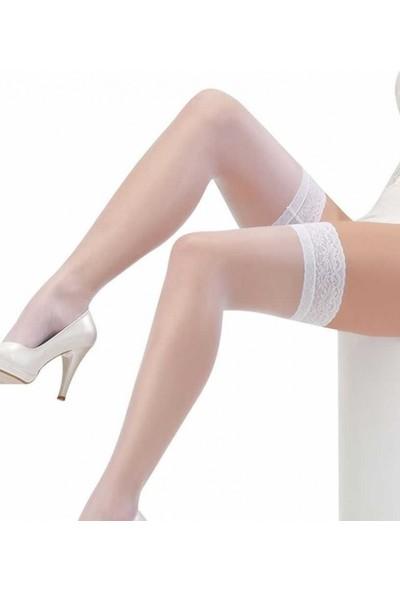 Merry See Beyaz Düz Silikonlu Dantelli Jartiyer Çorap