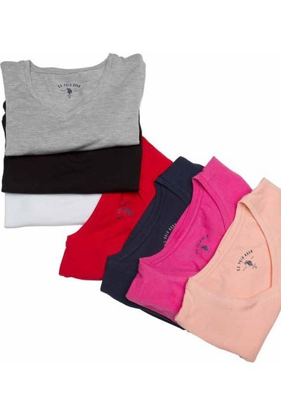 U.S. Polo Assn. 66004 Bayan V Yaka Streç T-Shirt