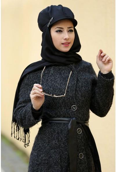 Siyah Tesettür Şapkalı Eşarp
