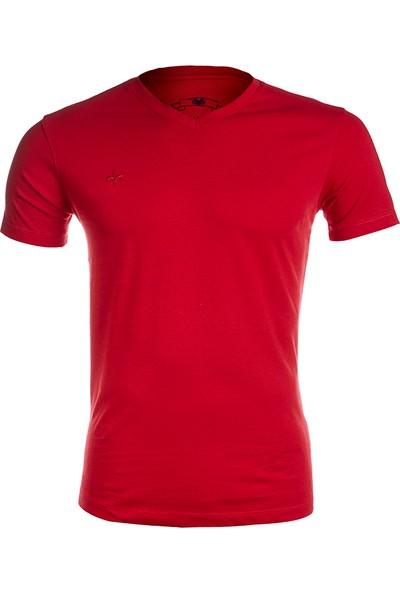 Wgust V Yaka T-Shirt (Bordo)