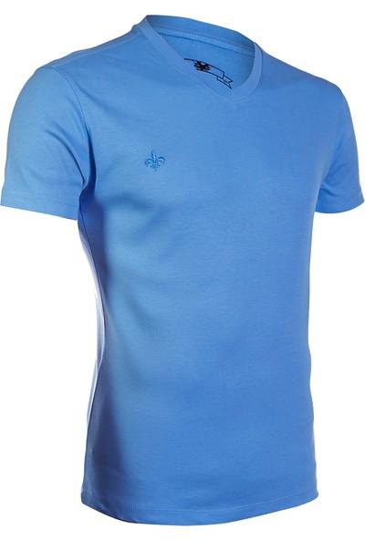 Wgust V Yaka T-Shirt (Mavi)