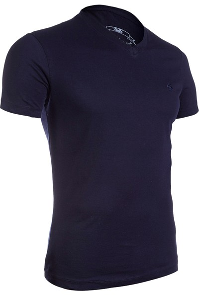 Wgust V Yaka T-Shirt (Lacivert)