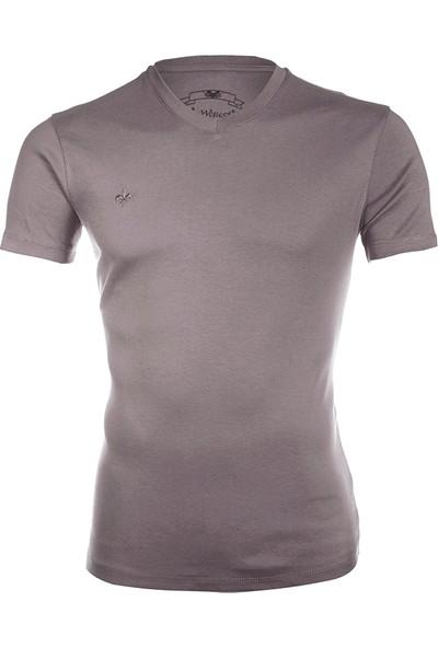 Wgust V Yaka T-Shirt (Füme)