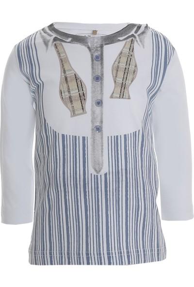Soobe The Little Gatsby Baskılı Uzun Kol Erkek Bebek T-Shirt Beyaz