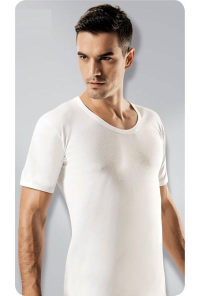Elif Çamaşır Gümüş 6'lı Paket Açık Yaka Erkek Fanila Beyaz